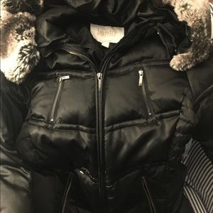 Down filled puffer cost with faux fur hood